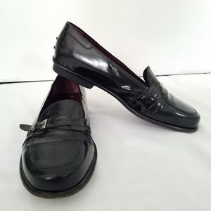 Tod's Loafer Leather Black Italian Buckle Size 8.5